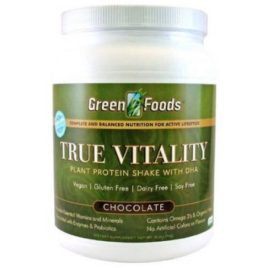 Green Foods True Vitality Chocolate Plant Protein Shake with DHA Dietary Supplement Powder, 25.2 oz